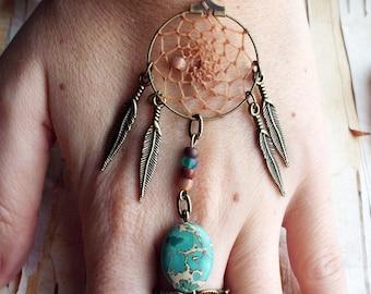 Peace Catcher Aqua Terra Jasper Bohemian Dreamcatcher  Bracelet  Hippie  Tribal  Antiqued Brass   Native American Inspired