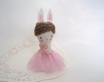 Bunny sweet lady brooch pin miniature art doll ballerina pink tutu Made to order!