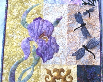 Quilted Wall hanging   Fiber art Appliqued purple Iris, Butterfly and dragonflies