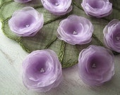 Fabric Flowers- Water Lilies- Handmade organza sew on appliques, fabric flowers, floral embellishments (5 pcs)- LAVENDER (Limited Quantity)