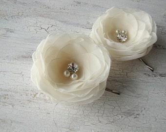Bridal hair pins, sheer voile flowers, bobby pins, fabric flowers, wedding accessories (set of 2 pcs) -  CREAM IVORY ( rhinestones / pearls)