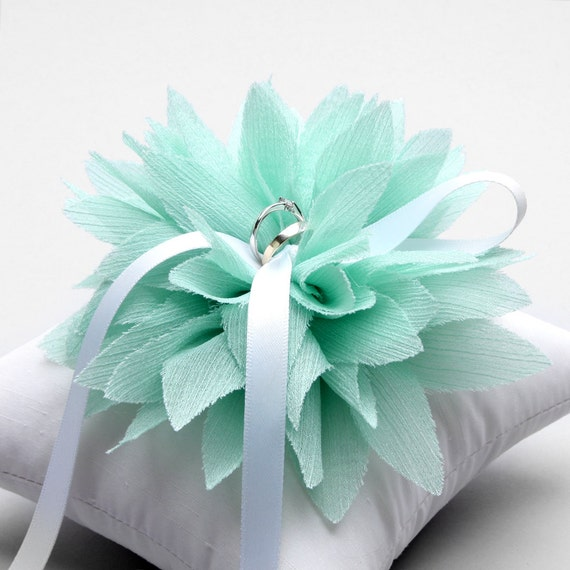 Mint ring bear pillow, wedding ring pillow, green ring pillow, flower ring pillow, wedding gift - Lydia