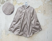 Polka Dot Raincoat, Grey and Mint, Vintage Inspired Cape with Hood, Waterproof, Unisex Rain Jacket, Gift For Her