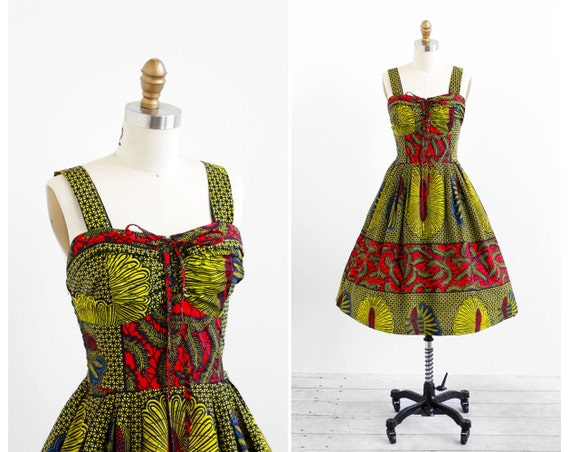 Vintage 1950s Dress 50s Dress Red And Green Hawaiian Print