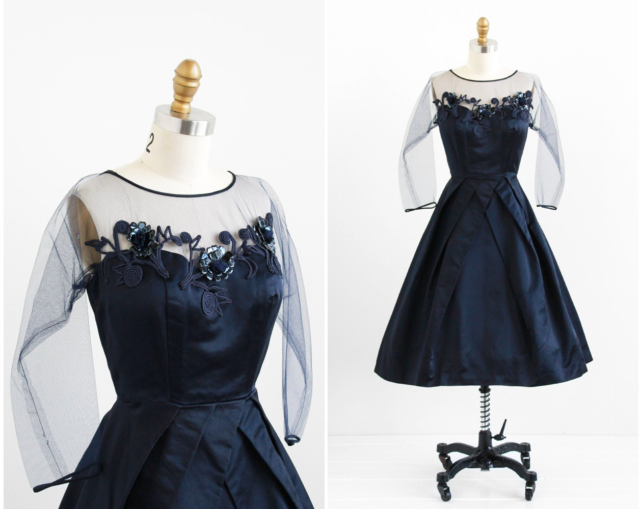 R E S E R V E D Vintage 1950s Dress / 50s Dress / Midnight