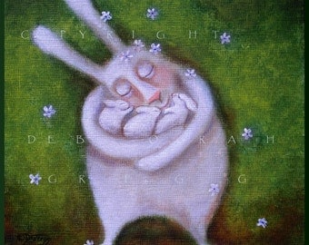 Safe in Her Arms  A small PRINT Mother Rabbit  Mom, Bunnies, Love  By Deborah Gregg
