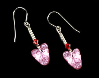 Pink Heart Dangle Earrings - Polymer Clay Heart Jewelry - Valentine's Day Gift for Women - Friend Gift - Handmade Jewelry Gift for Her