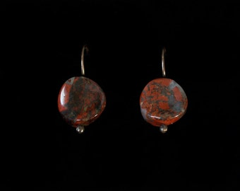 Simple Oxidized Solid Copper Earrings with Dragons Blood Jasper Curved Coin Beads