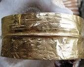 Bronze fold form tribal cuff bracelet