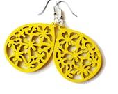 Yellow Earrings, Wooden Teardrop