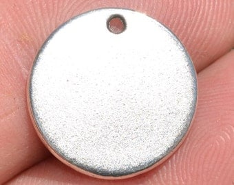 10 Stainless Steel Blank Disc 20mm Charms SC2905