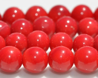 1 Strand of Red Coral 5mm Round Beads BD858