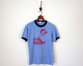 80s tee / ringer heathered blue marathon runner knit shirt top blouse (xs - s)