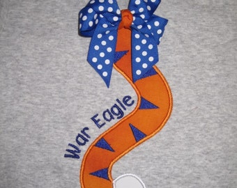 Tiger Tail 3-d Bow Girls Shirt Custom Personalized