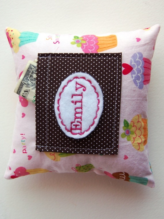 Cupcakes Galore Tooth Fairy Pillow Embroidered with Child's Name