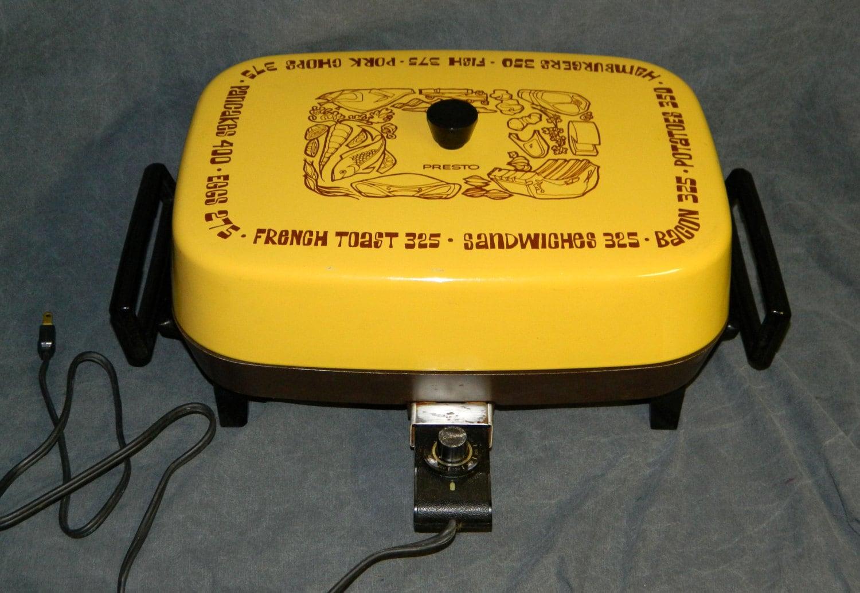 Vintage Electric Frying Pan Presto Harvest Gold Skillet