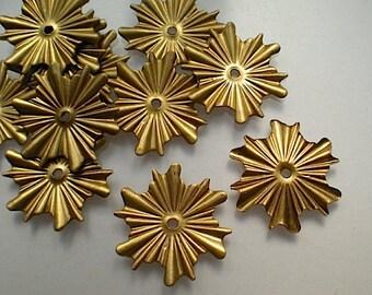 12 brass mirror rosettes, No. 7 - small