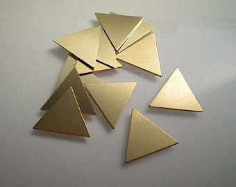 12 small flat brass triangle stamping blanks, 5/8""