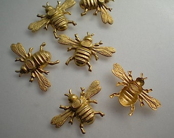 6 medium brass bumblebee charms