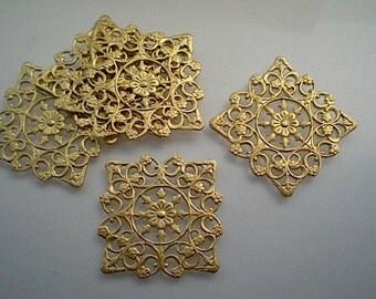 4 medium brass square floral filigrees