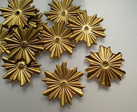 12 Brass Mirror Rosettes No 7 Small