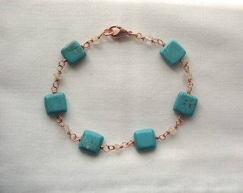 CLEARANCE: Square Howlite and Faceted Citrine Wire-Wrapped Bracelet on Copper