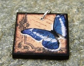 Pendant Handmade Ephemera Tile Butterfly
