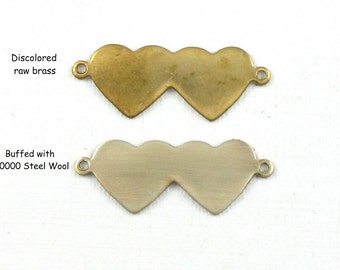 10 petite gold Double Heart charms. Perfect for stamping initials.  22mm x 8.5mm (ST71)