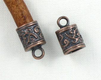 12 antique copper ornate jewelry End Caps for leather cord. Large 5.9mm inside diameter (EC11ac)