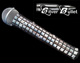 MICROPHONE COVER (Silver Bullet) Metallic Silver Mic Cover for Cordless Mic