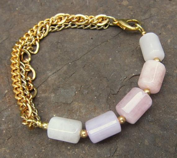 Morganite Crystal Bracelet with Vintage Chain