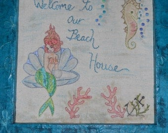 Welcome to our Beach House sign, Beach House Welcome Sign, Embroidered Mermaid picture