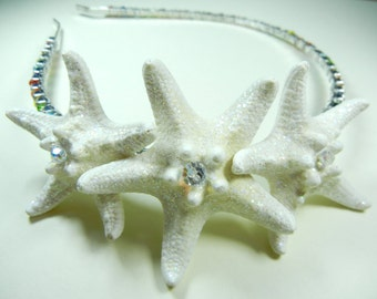 Crystal Rainbow Star Silver Starfish Rhinestone Headband