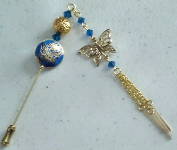 Blue Cloisonne and Crystal Hijab Pin/Hat Pin/Stick Pin with beaded tassel