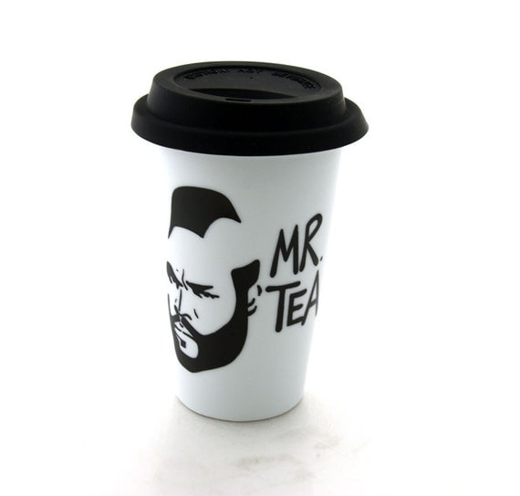 Mr T Tea Travel Mug Double Walled Porcelain Eco cup with Lid Kiln Fired
