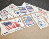 God Bless America .. UNused Vintage Postage Stamps  .. post 5 letters