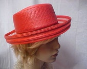Reserved- Linda  Red sailor style hat with see through rolled up brim- size fits 22 inch