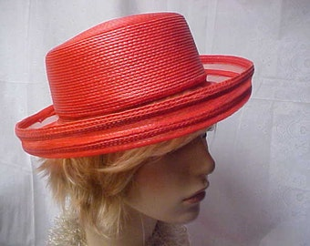 Red sailor style hat with see through rolled up brim- size fits 22 inch
