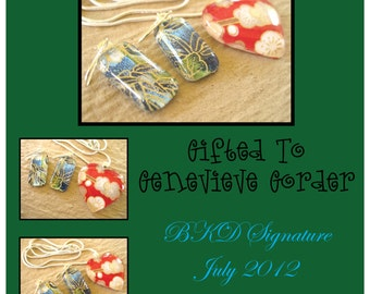 Gifted to Genevieve Gorder by BKD Signature - Blue Bamboo Shoots Earrings & Whimsical Bubbly Flowers in Red and Gray Heart Pendant Necklace