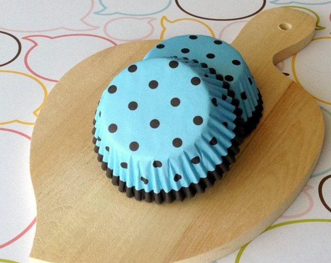 Blue/Dark Brown Polka Dots Standard Cupcake Liner