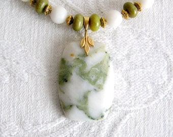 Jasper Pendant with Jade and White Marble