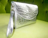 Metallic Silver Faux Leather Alligator Clutch