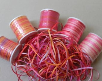 Sunset mix - 15 metres of 2mm variegated silk ribbon