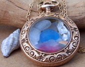 Sea Glass Pocket Watch Pendant Antique Gold Filled Golden Blue