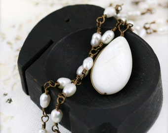 Mermaid whisperers necklace - freshwater pearl and mother of pearl drop