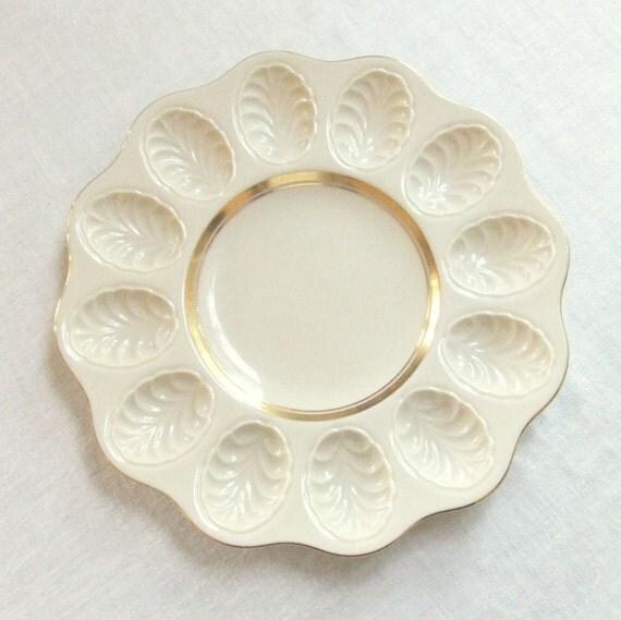 Vintage Lenox China Deviled Egg Plate 24K Trim