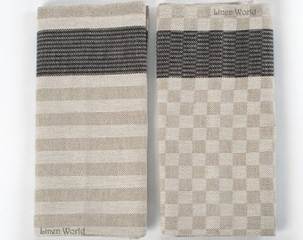 2 Linen Tea Towels x Grey Striped Dish Towels x Plaid Kitchen Towels x Organic Linen Cotton Dish Towel x Natural Linen Towel x Hand Towels