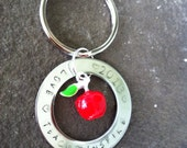 Teacher gift keychain custom stamped personalized