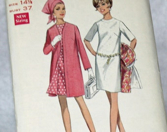 Vintage 1960s, Sewing Pattern, Butterick 4743, Dress and Coat, Half Size 14 1/2