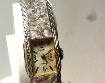Art Deco Design SWANK Wind Up Watch 17 Jewels Lady's Expandable BAND Art Deco design  On SaLe Now